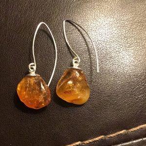 Golden Amber 925 Sterling Silver Earrings
